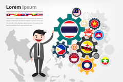 Economic gear driving in asean country (aec) Royalty Free Stock Image