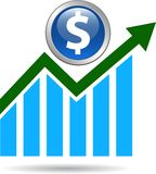 Economic graph arrow. Dollar  - vector illustration on isolated white background Stock Photo