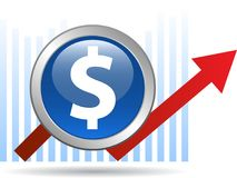 Economic graph arrow. Dollar  - vector illustration on isolated white background Royalty Free Stock Photography