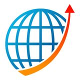 Globe graph arrow logo on white Royalty Free Stock Photography