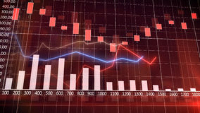 Economic Graph and Bar Chart. With a wine-colored background. Abstraction Stock Image