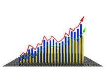 Economic graph came from the yellow №1 Royalty Free Stock Photo