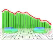 Economic graph of incidence of the green boxes Royalty Free Stock Photo