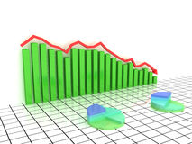 Economic graph of incidence of the green boxes Stock Photography