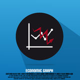 Economic Graph And Red Arrow With Text And Flat Stock Photos