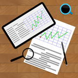 Economic graphic on desk. Vector marketing annual chart and diagram illustration Stock Photos