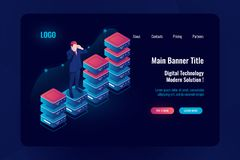Economic growth, business success, information graph up, moving forward, Analytics and data evaluation, visualization. Big data processing, man stay on stock illustration