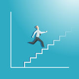 Economic growth, businessman running up the stairs Stock Photography