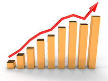 Economic growth charts from the golden cup �3 Royalty Free Stock Photo