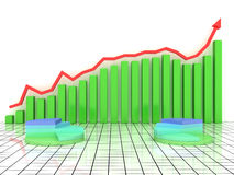 Economic growth charts from the green boxes №1 Stock Images