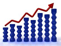 Economic growth charts from the red arrows �1 Stock Photos