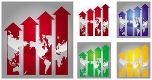 Economic growth  graph. Economic growth illustration with graph and world map Stock Photos