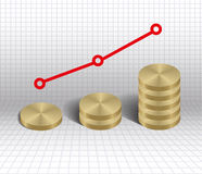 Economic growth graph gold coins Royalty Free Stock Photo