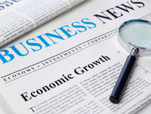 Economic growth headline in newspaper Stock Photos