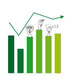 Economic growth. Two Businessmen and a businesswoman on a chart with a telescope and binoculars. It is a metaphor of the results and goals of a company Royalty Free Stock Photo