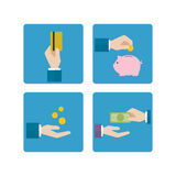 Economic hand icon. With money and piggy bank Royalty Free Stock Photos