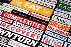 Economic Headlines. Newspaper and magazine headlines detailing the economic recession and recovery Stock Images