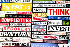 Economic Headlines. Newspaper and magazine headlines detailing the economic recession and recovery Royalty Free Stock Images