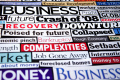 Economic Headlines. Newspaper and magazine headlines detailing the economic recession and recovery Royalty Free Stock Photos