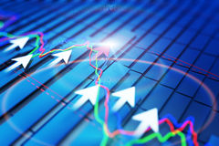 Economic indicators and move forward with the arrow Stock Image