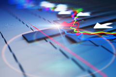Economic indicators and move forward with the arrow Royalty Free Stock Photo