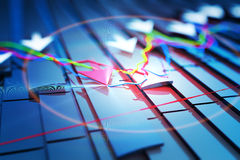 Economic indicators and move forward with the arrow Stock Photography