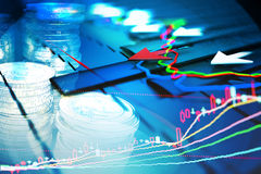Economic indicators and move forward with the arrow Stock Images