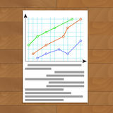 Economic infochart diagram. Statistic plan document, vector illustration Stock Photography