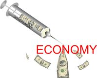 Economic Injection. Governments injecting money into the Economy, to try to end the economic crisis Royalty Free Stock Images