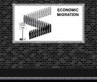 Economic migration advertising board Stock Image