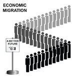 Economic migration. Representation of economic migrants queuing for a better future isolated on white background Royalty Free Stock Image