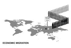 Economic migration. Representation of economic migrants queuing for a better future on world map isolated on white background Royalty Free Stock Photo