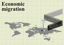 Economic migration world map Stock Photography