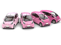 Economic modern compact cars in shades of pink. Isolated on white background Royalty Free Stock Photos