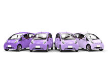 Economic modern compact cars in shades of purple. Isolated on white background Stock Photo