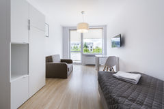 Economic, modern sleeping room interior design stock photo