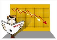 Economic news. Business man read the economic news Stock Photo