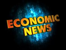Economic News - Gold 3D Words. Economic News - Gold 3D Words on Dark Digital Background Royalty Free Stock Images