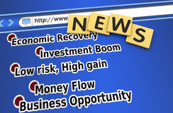 Economic news. Economic recovery news on the website Royalty Free Stock Photography