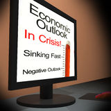 Economic Outlook On Monitor Showing Financial. Forecasting Or Monetary Predictions Stock Photos