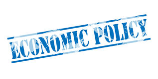 Economic policy blue stamp Stock Photos