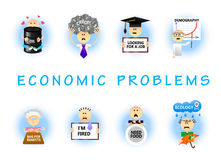 Economic problems flat set. Set of economic problems concepts in flat style. Unemployment; dismissal; credits; crisis; overcrowding; bad ecology; hunger Royalty Free Stock Photos