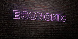ECONOMIC -Realistic Neon Sign on Brick Wall background - 3D rendered royalty free stock image Royalty Free Stock Photo