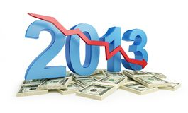 Economic recession in 2013. On a white background stock illustration