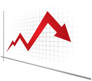 Economic recession graph Stock Photography