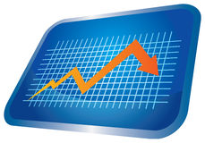 Economic recession graph. Economic recession illustration with graph and grid Royalty Free Stock Image