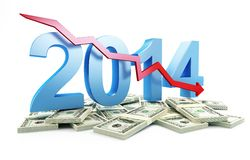 Economic recession in 2014. On a white background Stock Illustration