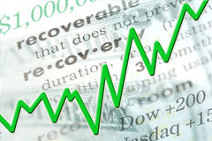 Economic Recovery. Graphic with line chart and text Stock Photography