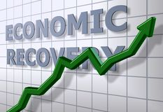 Economic recovery. A green chart arrow in front of an economic recovery graph Royalty Free Stock Images