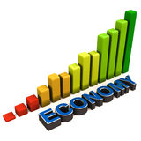 Economic recovery. Rising economy, text with increasing graph over white background Stock Photography